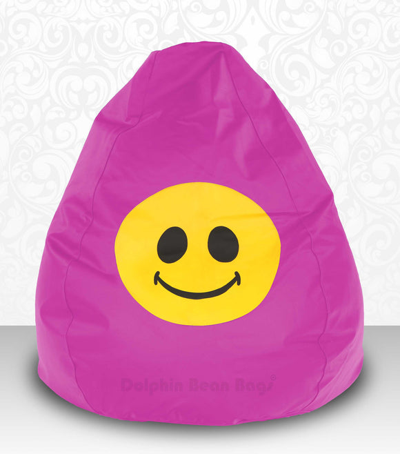 DOLPHIN XXXL Bean Bag Pink-Smiley-FILLED(with Beans)