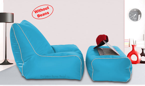 Dolphin Gamer Bean Bag with Footrest Turquoise-Covers (Without Beans)