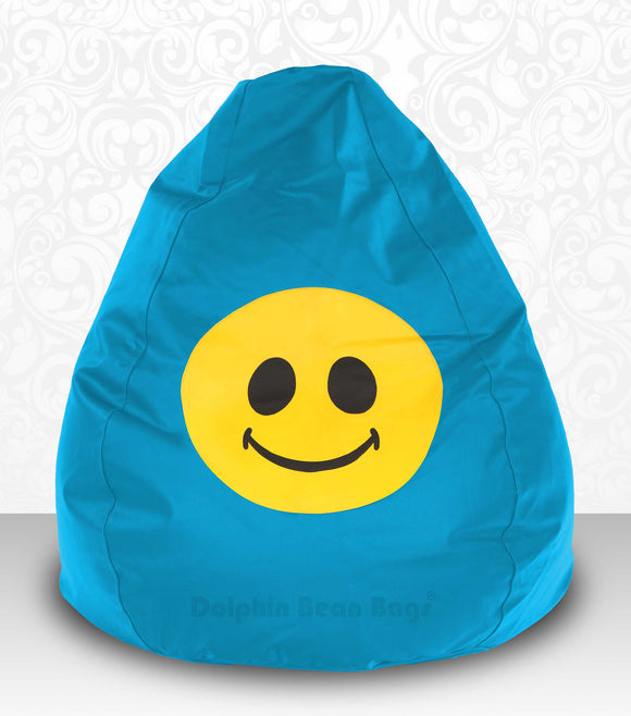 DOLPHIN XXXL Bean Bag Turquoise-Smiley-FILLED(with Beans)