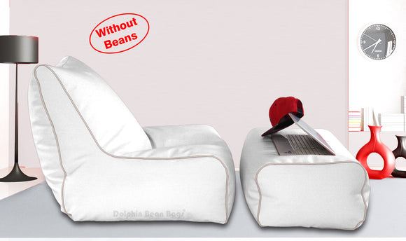 Dolphin Gamer Bean Bag with Footrest White-Covers (Without Beans)