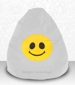 DOLPHIN XXXL Bean Bag White-Smiley-FILLED (with Beans)