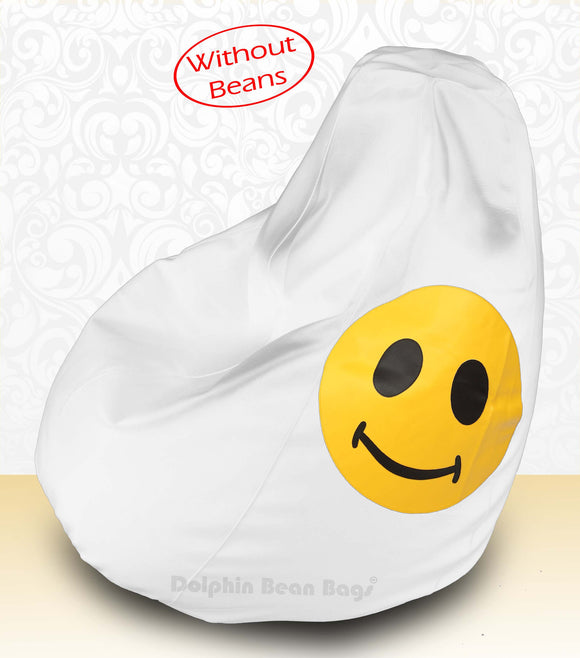 DOLPHIN XXXL Bean Bag White-Smiley-COVERS(without Beans)