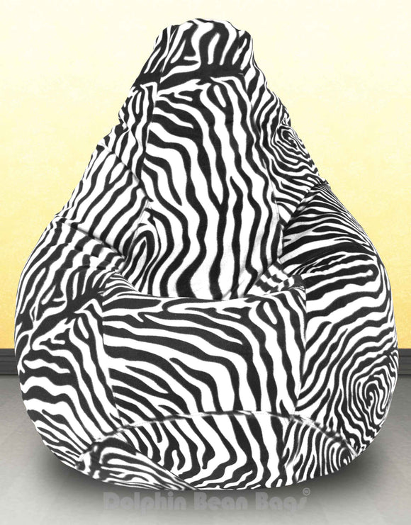 DOLPHIN XXXL Blk-White Zebra-FABRIC-FILLED  & WASHABLE (with Beans)