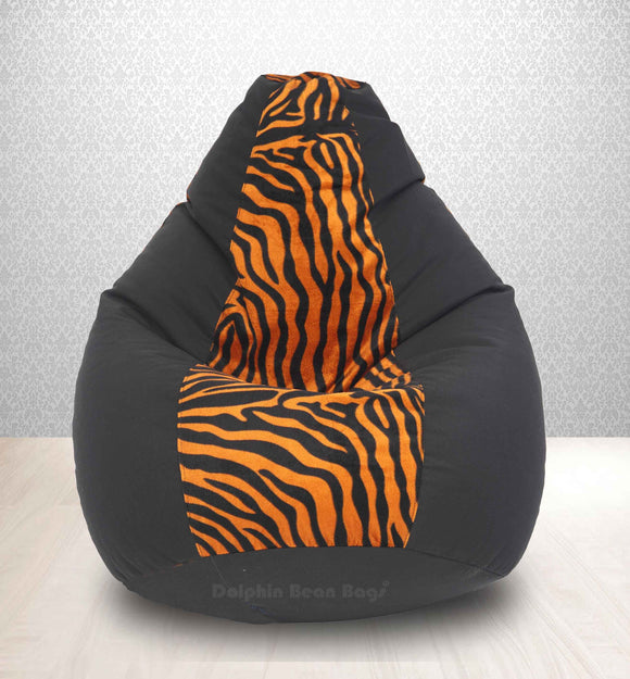 DOLPHIN XXL BLACK/GOLDEN ZEBRA-FABRIC-FILLED(with Beans)