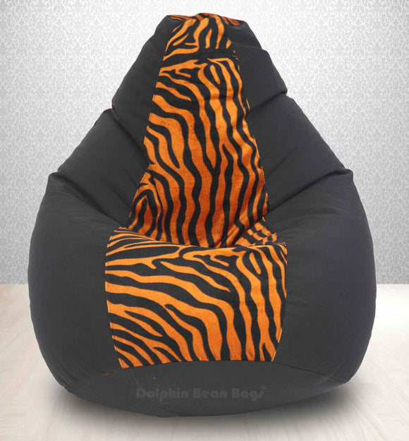 DOLPHIN XXXL BLACK/GOLDEN ZEBRA-FABRIC-FILLED & WASHABLE (with Beans)