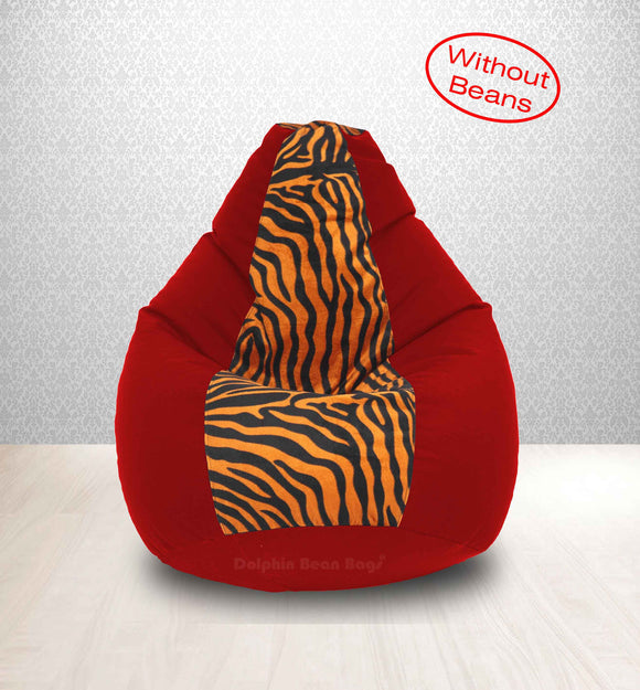 DOLPHIN XL Red/Golden Zebra-FABRIC-COVERS(without Beans)