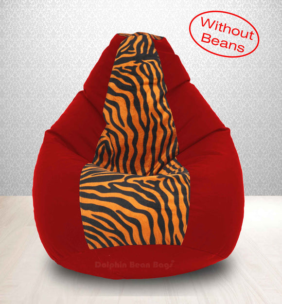 DOLPHIN XXL Red/Golden Zebra-FABRIC-COVERS(without Beans)