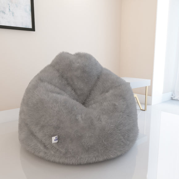 DOLPHIN JUMBO FUR BEAN BAG-GREY-ARTIFICIAL(COVER)