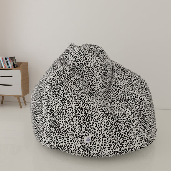DOLPHIN XXL FABRIC PRINTED BEAN BAG-CHEETAH WHITE - WASHABLE (With Beans)