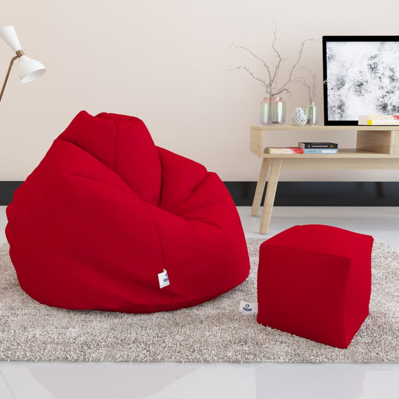 DOLPHIN BEAN BAG PREMIUM XXXL SIZE- Filled (With Beans) - COMBO (with  Footrest)
