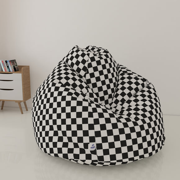 DOLPHIN XL PRINTED FABRIC BEAN BAG-BLACK & WHITE - WASHABLE (With Beans)