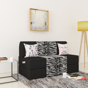 Dolphin Zeal 2 Seater Sofa Bed-Black & Zebra- 4ft x 6ft with Free micro fiber Designer cushions