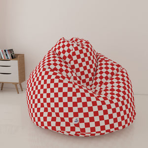 DOLPHIN XL FABRIC PRINTED BEAN BAG- RED & WHITE - WASHABLE (With Beans)