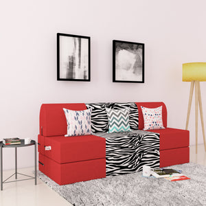 DOLPHIN ZEAL 3 SEATER SOFA CUM BED-Red & Zebra with Free micro fiber Designer cushions