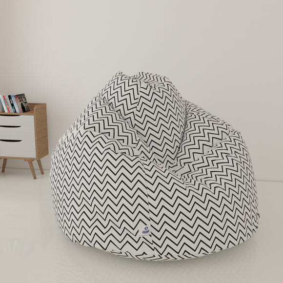 DOLPHIN XL FABRIC PRINTED BEAN BAG-WHITE & BLACK - WASHABLE (With Beans)