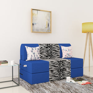 Dolphin Zeal 2 Seater Sofa Bed-R.Blue & Zebra- 4ft x 6ft with Free micro fiber Designer cushions