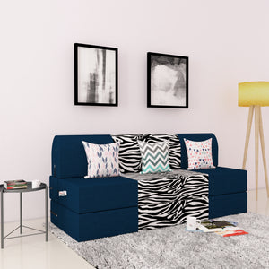 DOLPHIN ZEAL 3 SEATER SOFA CUM BED-N.Blue & Zebra with Free micro fiber Designer cushions