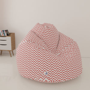 DOLPHIN XXXL PRINTED FABRIC BEAN BAG-RED & WHITE-WASHABLE (With Beans)