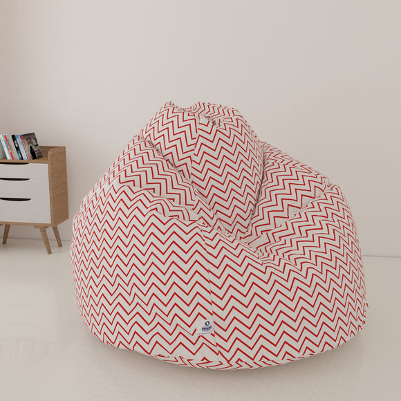 DOLPHIN XXL FABRIC PRINTED BEAN BAG-RED & WHITE- WASHABLE (With Beans)