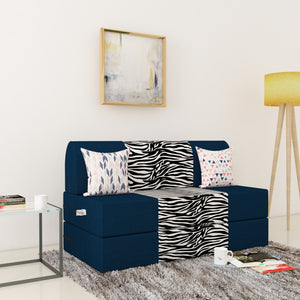 Dolphin Zeal 2 Seater Sofa Bed-N.Blue & Zebra- 4ft x 6ft with Free micro fiber Designer cushions