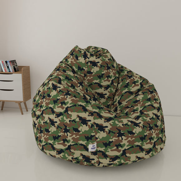 DOLPHIN XXL PRINTED FABRIC BEAN BAG-CAMOUFLAGE- WASHABLE(With Beans)