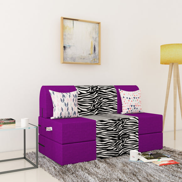 Dolphin Zeal 2 Seater Sofa Bed-Purple & Zebra- 4ft x 6ft with Free micro fiber Designer cushions