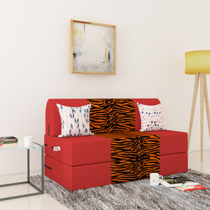 Dolphin Zeal 2 Seater Sofa Bed-Red & Golden Zebra- 4ft x 6ft with Free micro fiber Designer cushions