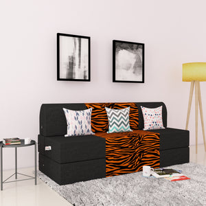 DOLPHIN ZEAL 3 SEATER SOFA CUM BED-Black & Golden Zebra with Free micro fiber Designer cushions