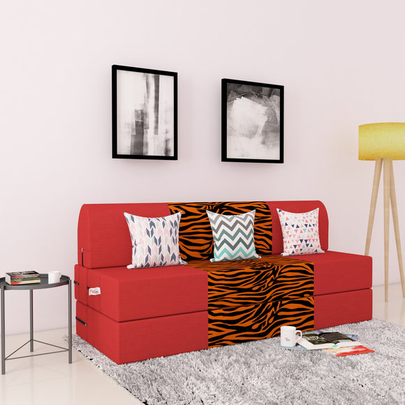 DOLPHIN ZEAL 3 SEATER SOFA CUM BED-Red & Golden Zebra with Free micro fiber Designer cushions