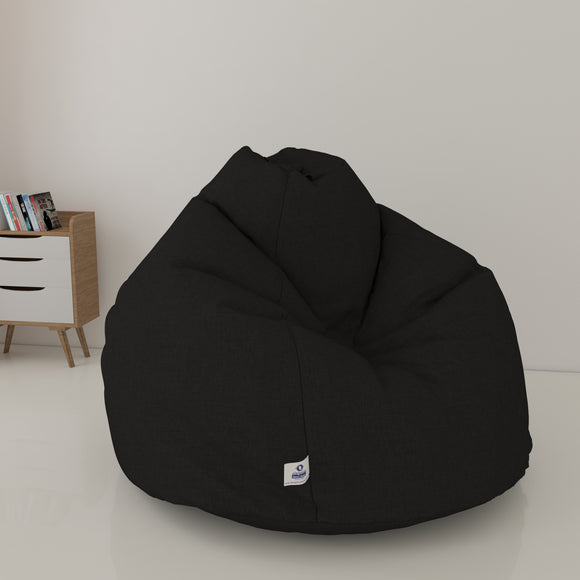 DOLPHIN XL DENIM BEAN BAG- BLACK - WASHABLE (With Beans)