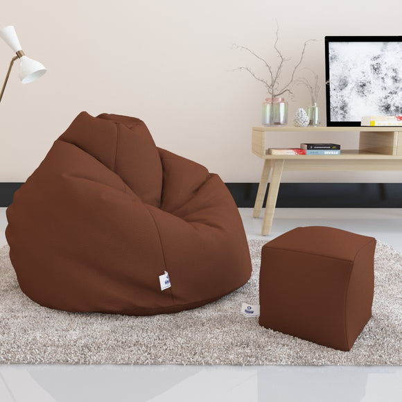 DOLPHIN BEAN BAG PREMIUM XXL SIZE- Filled (With Beans) - COMBO (with Footrest)