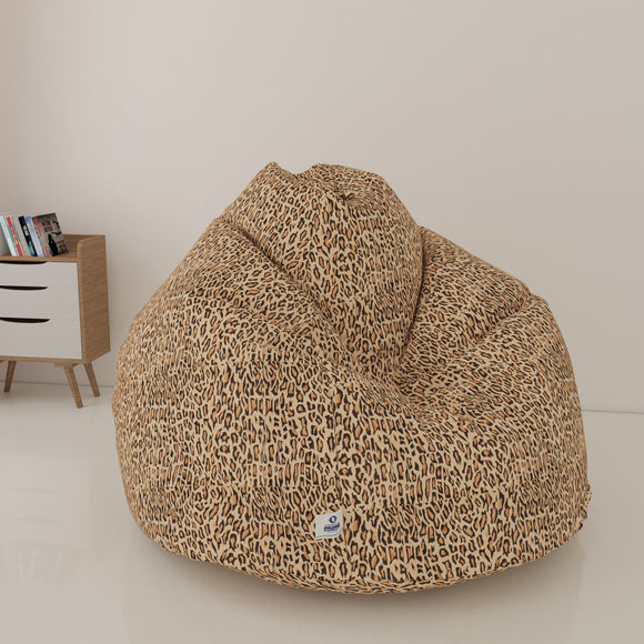 DOLPHIN XXXL PRINTED FABRIC BEAN BAG-CHEETAH BROWN - WASHABLE  (WITH BEANS)