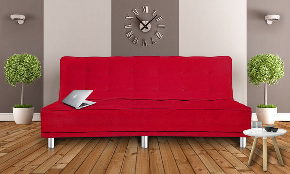 Dolphin Liberty 3 seater Solid Wood Sofa Bed-Red