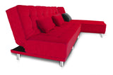 Dolphin Liberty 5 seater Solid Wood  L  Shape Sofa Bed-Red