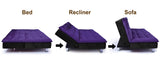 Dolphin Neptune 3 Seater Solid Wood Sofa Bed - Black & Purple