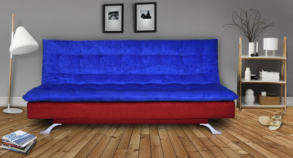Dolphin Neptune 3 Seater Solid Wood Sofa Bed - Red & Blue