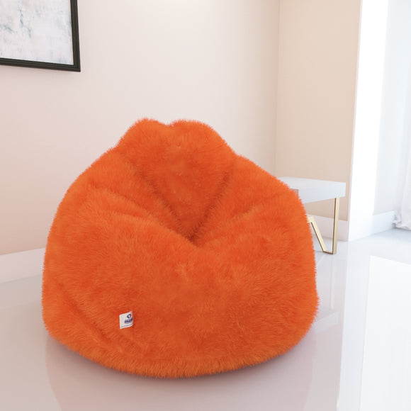 DOLPHIN XXXL- FUR BEAN BAG-ORANGE-ARTIFICIAL(COVER)