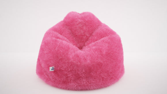 DOLPHIN XL FUR BEAN BAG-PINK ARTIFICIAL (With Beans)