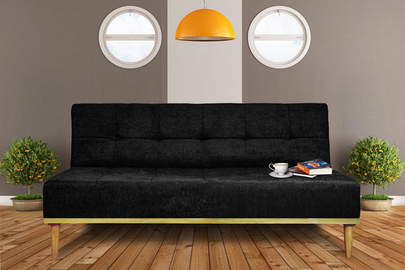 Dolphin Royale 3 Seater Solid Sofa Bed - Black