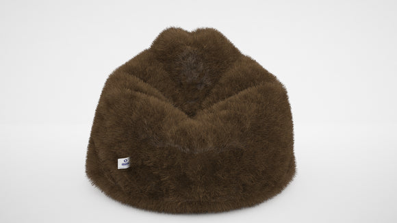 DOLPHIN XXL FUR BEAN BAG-TAN-ARTIFICIAL (With Beans)