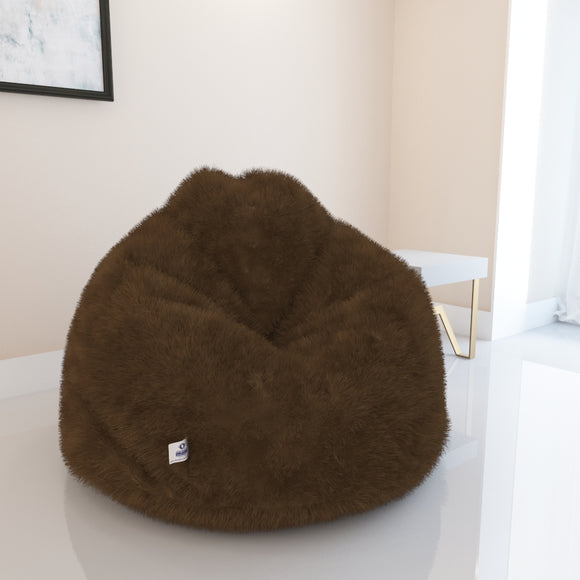 DOLPHIN JUMBO FUR BEAN BAG-BROWN-ARTIFICIAL(COVER)