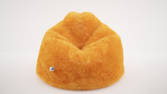 DOLPHIN JUMBO FUR BEAN BAG-YELLOW-ARTIFICIAL(FILLED)