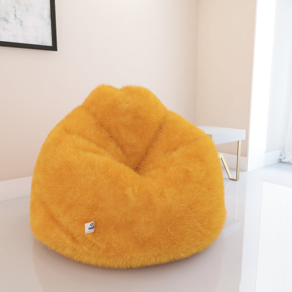 DOLPHIN XXL FUR BEAN BAG-YELLOW-ARTIFICIAL (WITH BEAN)