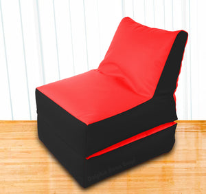 Dolphin Recliner Bean Bag Black/Red-Filled (With Beans)