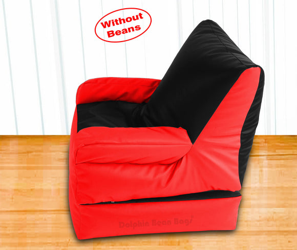 Dolphin Recliner Armrest Bean Bag Black/Red-Covers (Without Beans)