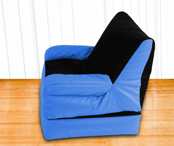 Dolphin Recliner Armrest Bean Bag Black/R.Blue-Filled (With Beans)