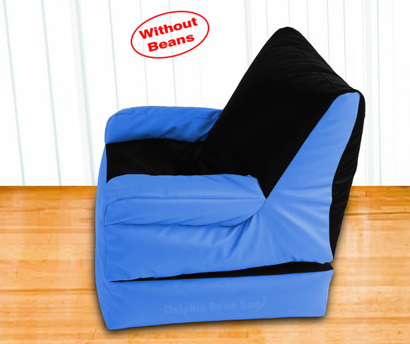 Dolphin Recliner Armrest Bean Bag Black/R.Blue-Covers (Without Beans)