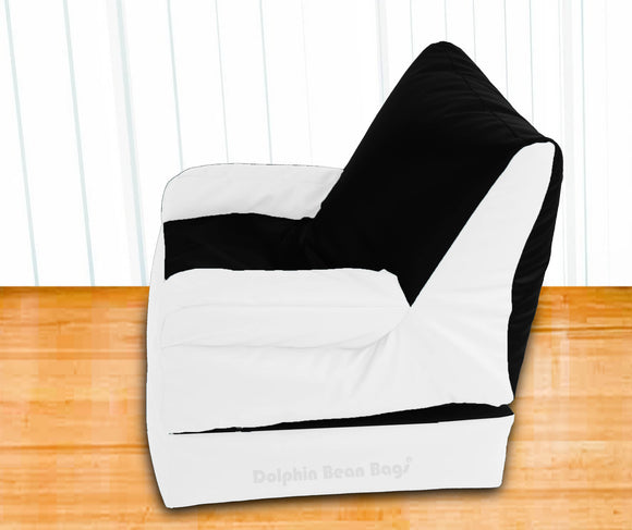 Dolphin Recliner Armrest Bean Bag Black/White-Filled (With Beans)
