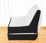 Dolphin Recliner Bean Bag Black/White-Filled (With Beans)