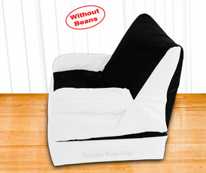 Dolphin Recliner Armrest Bean Bag Black/White-Covers (Without Beans)